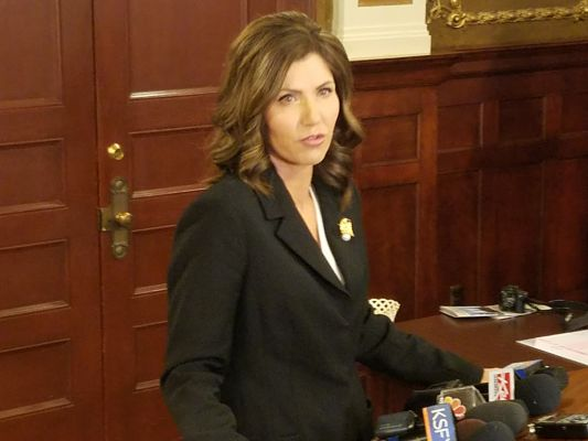 Kristi Noem speaks after becoming the first female governor in the state of South Dakota.