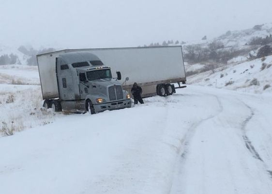 A truck slid off the road on Highway 79 in Harding County Thursday afternoon.