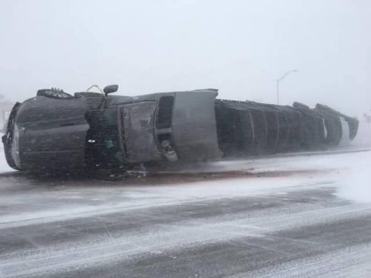 Truck on Catron Boulevard blown over Wednesday
