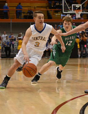 Aberdeen Central's Nate Rook heads to the hoop against Pierre Friday night.