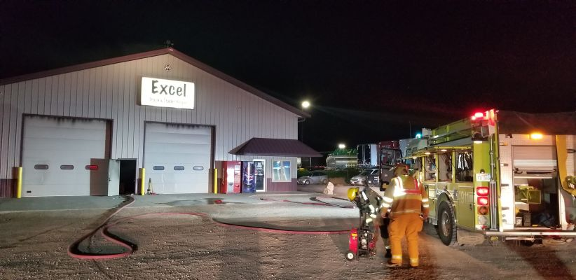 Crews respond to a fire a Excel Truck and Trailer early Thursday morning