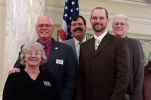 Pictured (left to right):  Amy & Gary Cammack; Lt. Governor Matt Michels; Tanse Herrmann, USDA-NRCS Sturgis; Angela Ehlers, SD Assn of Conservation Districts