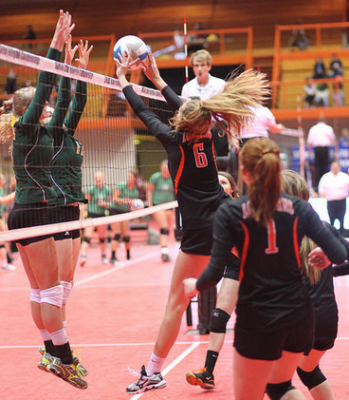 Class B Volleyball Tournament Action
