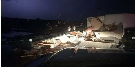 Damage at RV Park in Watford City after tornado