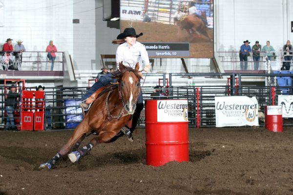 Amanda Harris wins the barrel racing average at the RAM Badlands Circuit Finals Rodeo, hosted by the Minot Y's Men's Rodeo. The Spearfish, S.D. cowgirl will represent the circuit at the RAM National Circuit Finals Rodeo in Kissimmee, Florida in April