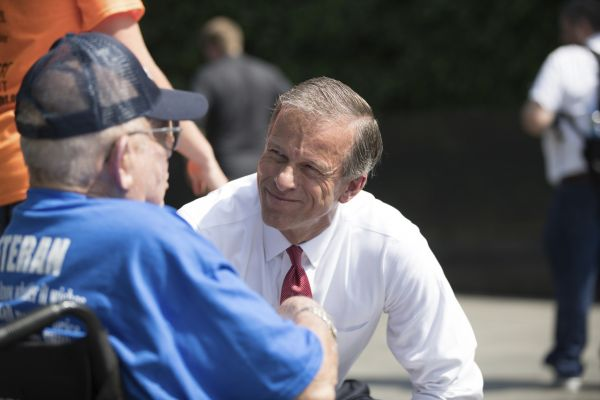 Thune visits with veterans Tuesday.