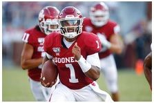 Oklahoma quarterback Jalen Hurts (1) carries in the second quarter of an NCAA college football game against South Dakota Saturday, Sept. 7, 2019, in Norman, Okla.