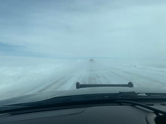 In this photo from the South Dakota Highway Patrol on Thursday, visibility on I-90 east of Rapid City is very poor due to blowing snow.