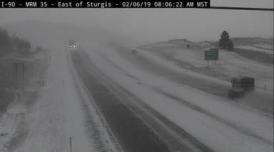 I-90 near Sturgis shows winter weather conditions Wednesday morning.
