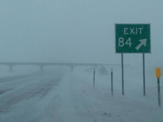 The SD Highway Patrol provided this image from I-90 at Exit 84 Thursday afternoon as a spring storm all but shut down the state.
