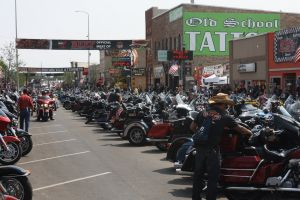 Motorcycles crowd Main Street in Sturgis Wednesday.
