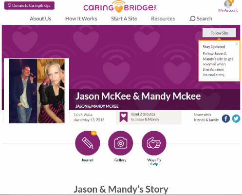 Caring Bridge site for the McKee's