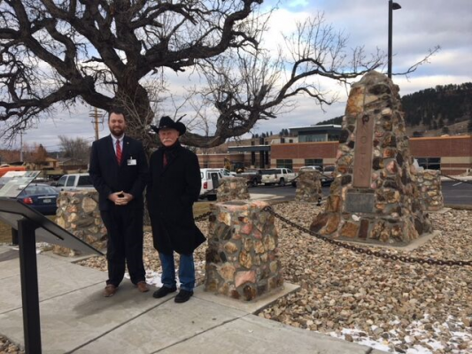 Mark Schulte, Regional Health Sturgis Market President, and Ross Lamphere, chairman of the Nolin Monument Revitalization Committee, take a moment to appreciate the refurbished Nolin Monument.
