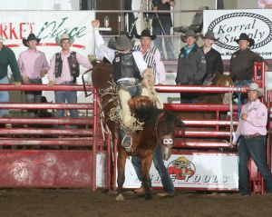 Shane O'Connell wins the second round of the Badlands Circuit Finals Rodeo in Minot with an 81 point ride on the David Bailey Rodeo horse named Corrosion. The Wall, S.D. man is in second place in the year-end race for the Badlands Circuit title.