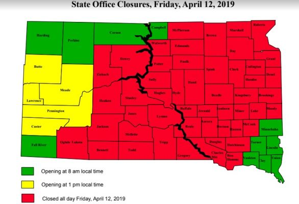 Office closure map for Friday, April 12.