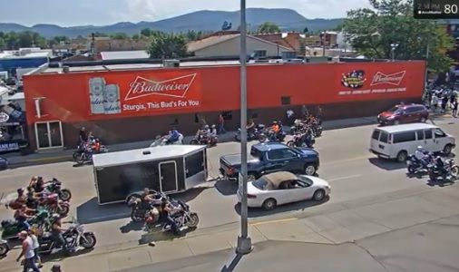 Traffic moves along Lazelle Street Thursday as the Sturgis Motorcycle Rally begins its final push.