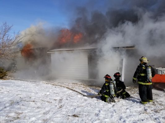 Fire heavily damages a Rapid Valley structure Sunday.
