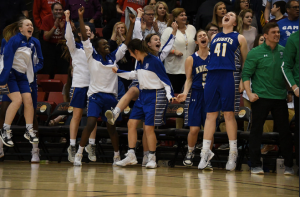 Sioux Falls O'Gorman players celebrate after winning the Girls Class AA Basketball Title Saturday night.