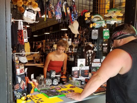 Shopping for souvenirs in Sturgis Thursday.