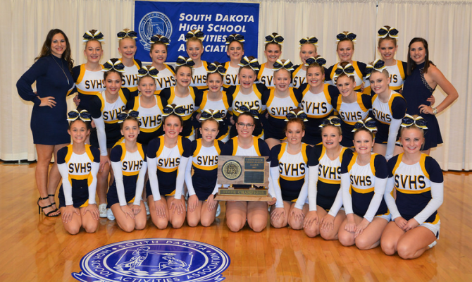 Sioux Valley, first place, State A Cheer champions