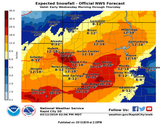 Snowfall totals expected from storm
