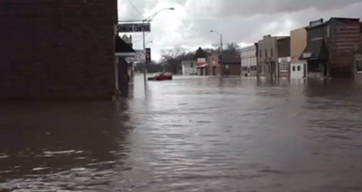 Image of the flooding happening in St. Edward, NE on March 13, 2019.