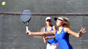Rapid City Stevens in doubles action at the state tennis tournament.