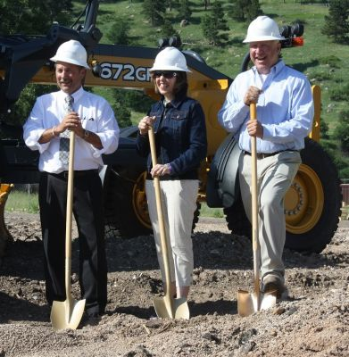 Groundbreaking for a new $4.6 million public works campus in Sturgis was attended by USDA Assistant to the Secretary Anne Hazlett, Tim Potts, USDA Rural Development Community Program Director for the State of South Dakota (left)  and Rick Bush, Sturgis Pu