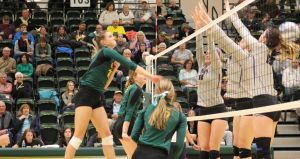 Elise Lech of BHSU in action Tuesday Night.