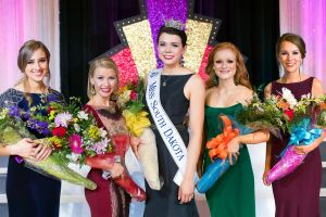 Miss South Dakota and her court, from left to right, 4rd runner-up Isabel MacLachlan, 2nd runner up Evy Johnson, Miss South Dakota 2017 Miranda Mack, 1st runner-up Carrie Wintle, 3rd runner up Rachel Evangelisto.